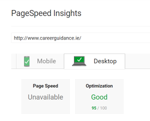 Page Speed - Career Guidance Website - Desktop - 95%