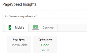 Page Speed - Career Guidance Website - Mobile - 92%