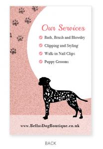 Business Card - Bellas Dog Boutique - Back