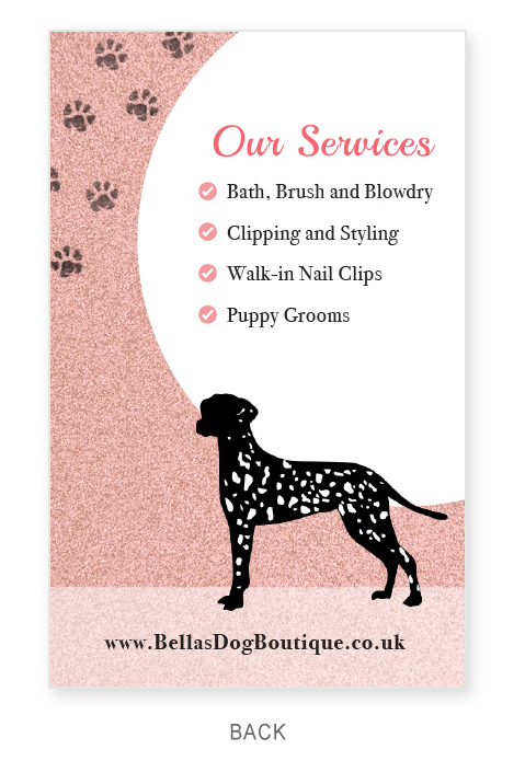 Business Card - Bellas Dog Boutique - Back