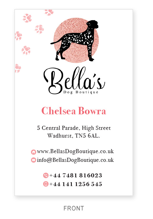 Business Card - Bellas Dog Boutique - Front