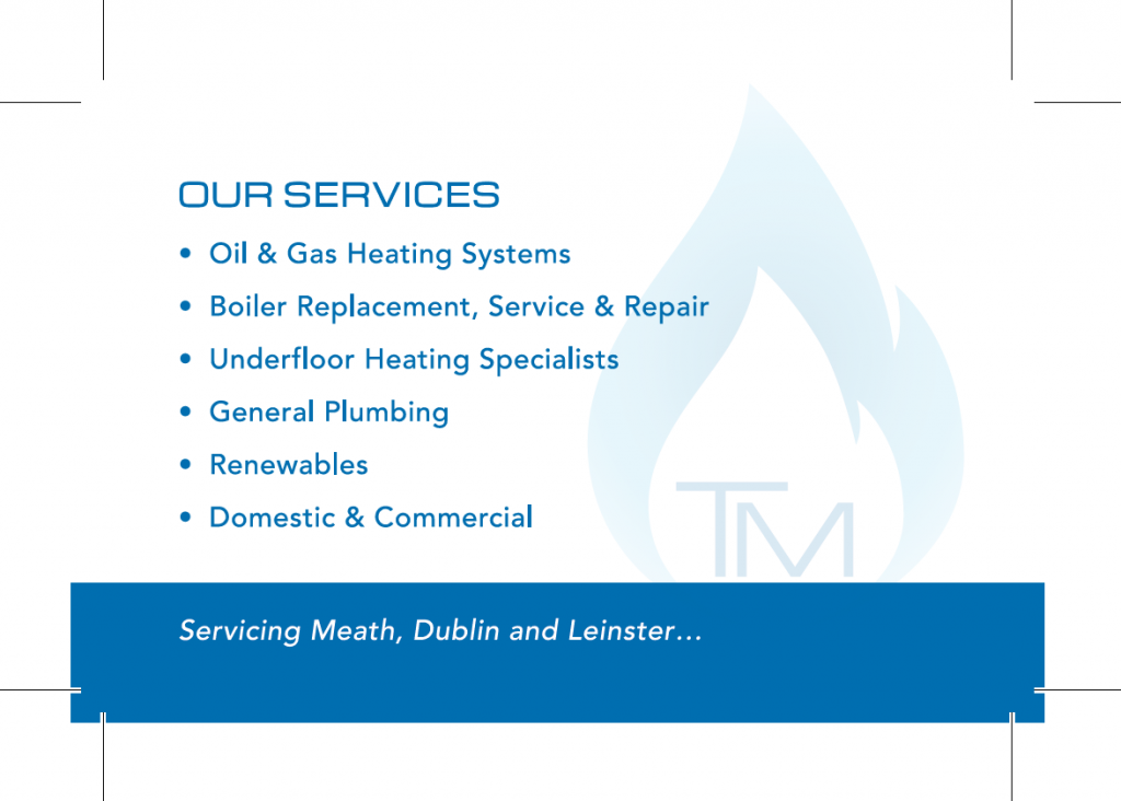 TM Plumbing & Heating Business Card Back