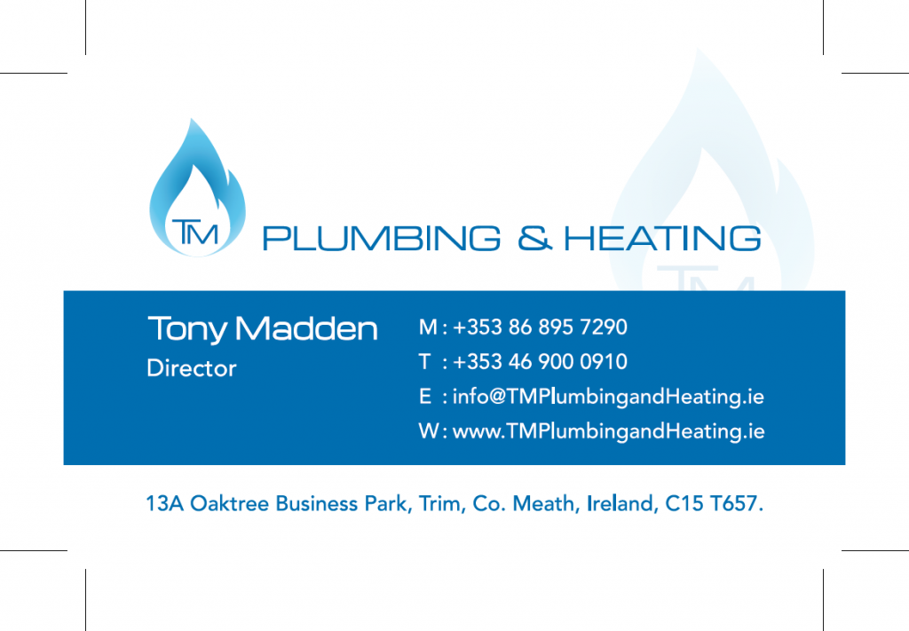TM Plumbing & Heating Business Card Front