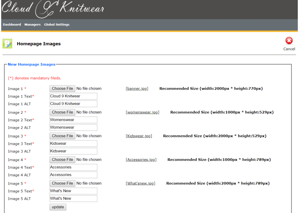 Backend Homepage Interface